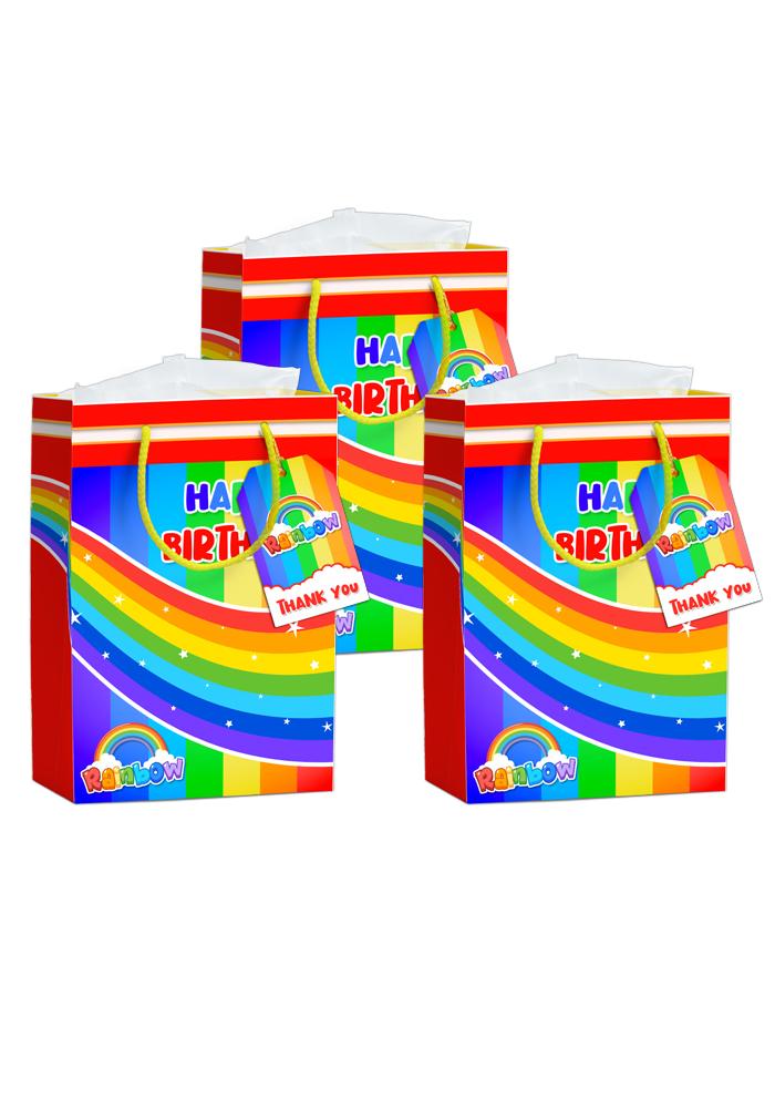 rainbow theme paper bags