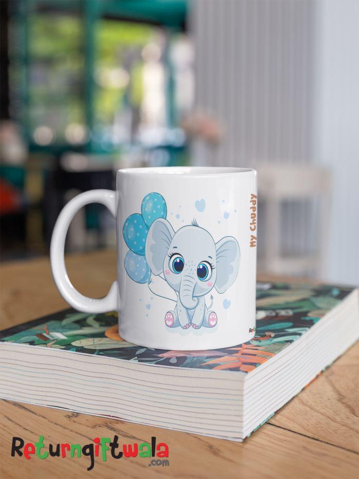 coffee mug elephant party giveaways