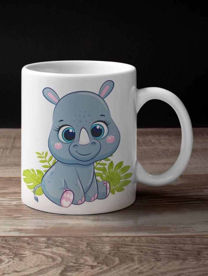 rhinoceros coffee mug jungle theme